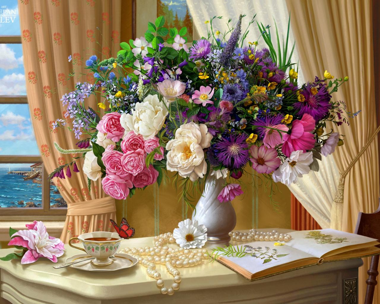 Открытка с цветами доброе утро хорошего дня, маме день рождение