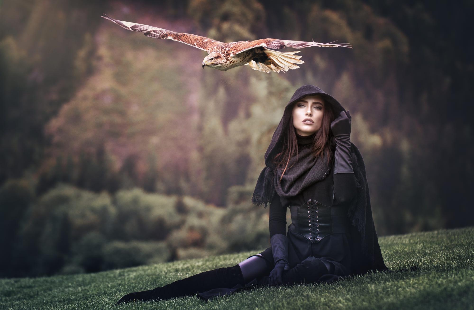 antique-picture-girl-gazing-bird