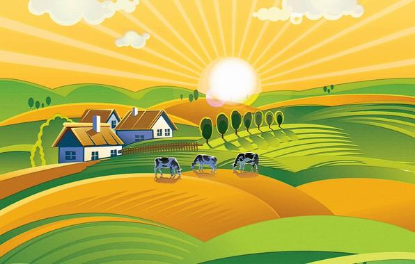 Picture the sun, hills, cows, meadows, farm