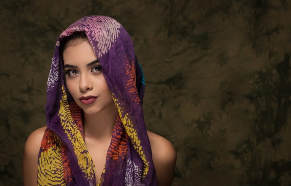 Picture look, girl, model, portrait, shawl, Camila