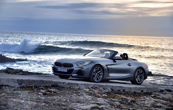 Picture wave, grey, shore, BMW, Roadster, BMW Z4, M40i, Z4, 2019, G29