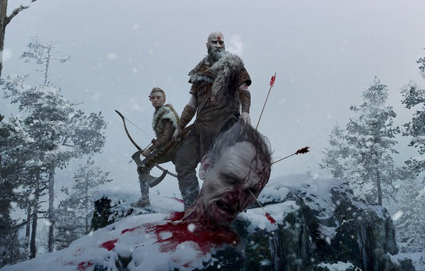 Picture snow, trees, weapons, axe, blood, head, bow, giant, blood, axe, arrows, God of war, trees, …
