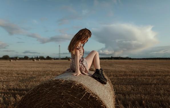 Picture field, girl, hay, legs, in the manger, Aleks Five