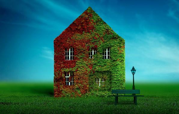 Picture house, lantern, house, bench, bench, lantern, Ben Goossens