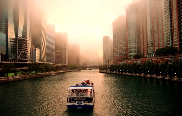 Picture trees, the city, fog, river, home, boat, channel