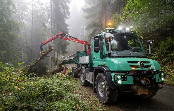 Picture forest, Mercedes-Benz, truck, machinery, CMU, Unimog, U430
