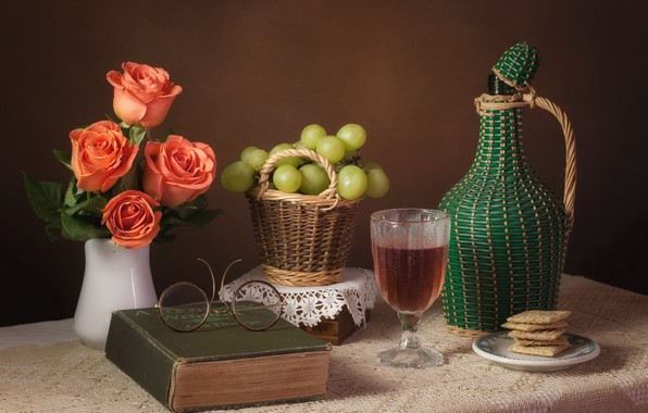 Picture wine, roses, glasses, grapes, book