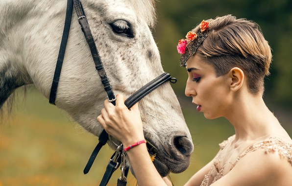 Picture girl, background, horse