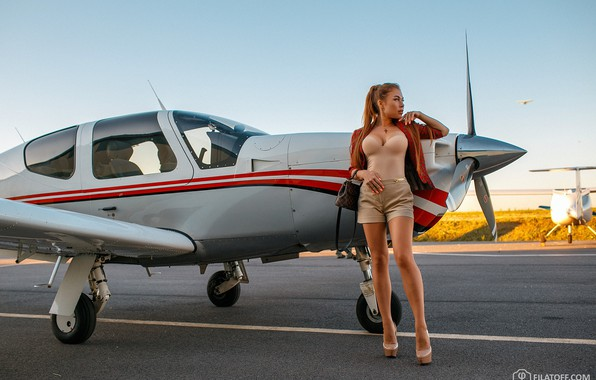 Picture girl, pose, shorts, legs, the plane, Dmitry Filatov