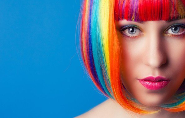 Picture look, face, beautiful girl, multi-colored hair, bright makeup, original hairstyle, светло-серые глаза, светло-голубой фон