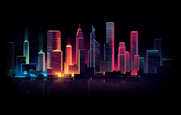 Picture Home, Minimalism, Night, Vector, The city, Light, Style, Building, Architecture, Art, Style, Neon, Lighting, Illustration, …