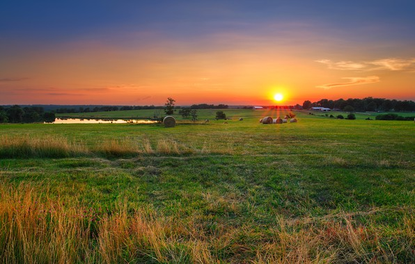Picture the sky, grass, the sun, rays, trees, dawn, field, hay, houses, USA, Missouri