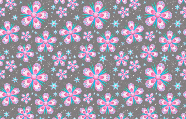 Picture flowers, snowflakes, background, graphics, texture, stars, digital art