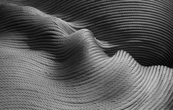 Picture wave, abstraction, texture, black and white, ropes, monochrome, rope