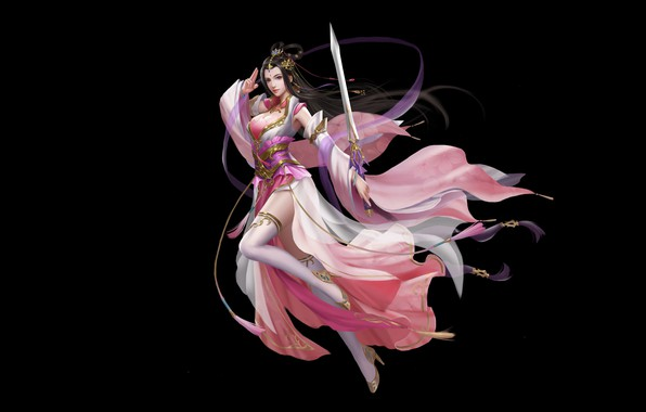 Picture Girl, Fantasy, Art, Asian, Background, Illustration, Minimalism, Chinese, Sword, Dress, CTRL+T STUDIO