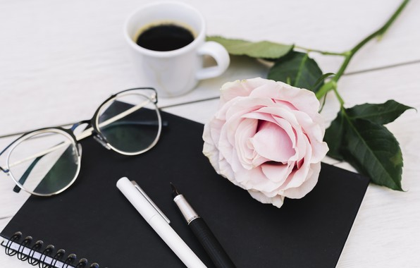Picture rose, coffee, handle, Notepad