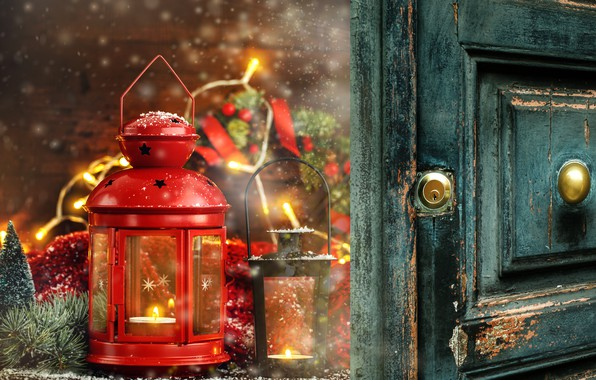 Picture decoration, New Year, Christmas, lantern, Christmas, wood, New Year, decoration, xmas, lantern, Merry, fir tree, …