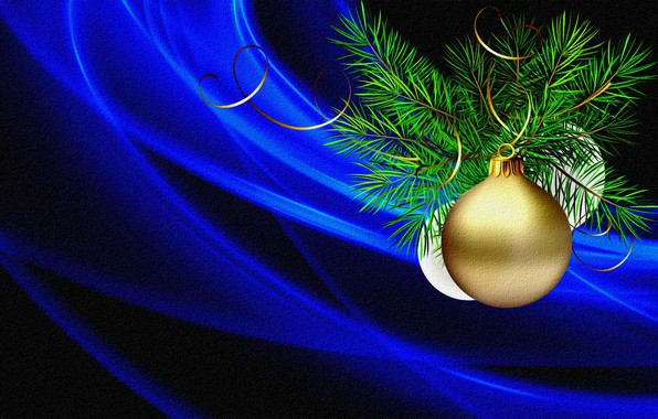Picture light, rendering, holiday, figure, New Year, serpentine, picture, canvas, blue background, Christmas decorations, spruce branch, …