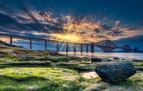 Picture sunset, bridge, coast, stone, Scotland, Bay, Scotland, Forth Bridge, Fort Bridge, The Bay of the …
