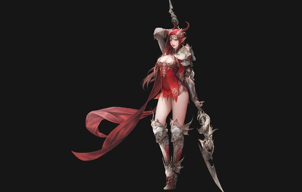Picture girl, weapons, horns, spear, pointy ears, league of angels