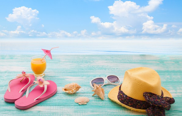 Picture sea, beach, summer, stay, summer, beach, vacation, sea, hat, drink, vacation, sunglasses