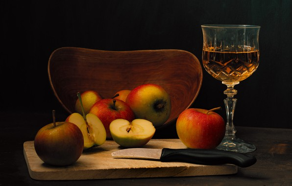Picture the dark background, wine, apples, glass, food, alcohol, knife, Cup, drink, fruit, still life, cutting …