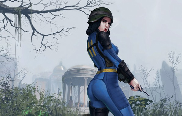 Picture ass, chest, girl, art, cigarette, costume, helmet, ass, fallout, revolver, postapokalipsis