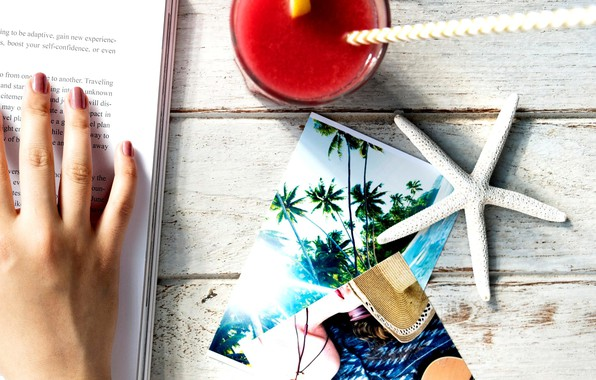 Picture photo, hand, cocktail, book, starfish
