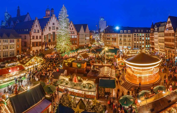 Picture lights, holiday, Germany, Christmas fair, The Frankfurt-on-main