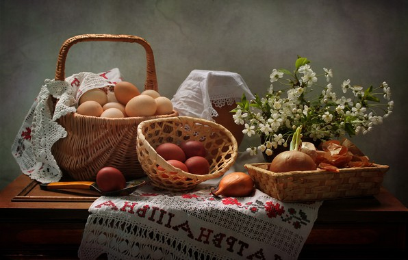 Picture branches, cherry, table, holiday, basket, eggs, milk, bow, Easter, spoon, eggs, swipe, towel, pot, Kovaleva …