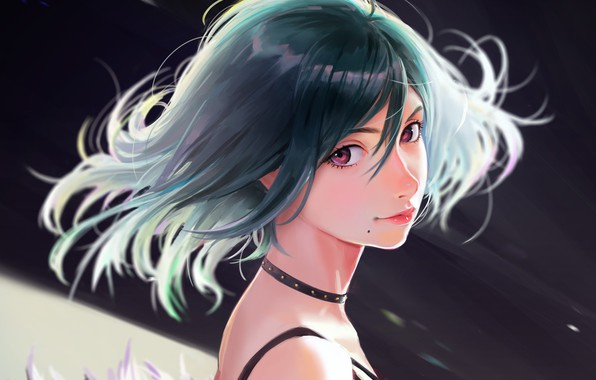 Picture face, haircut, mole, blue hair, portrait of a girl, chalker, by Nababa