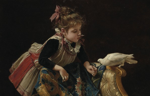 Picture Italian painter, Italian painter, Roberto Fontana, Girl with dove, Girl with a dove, Roberto Fontana