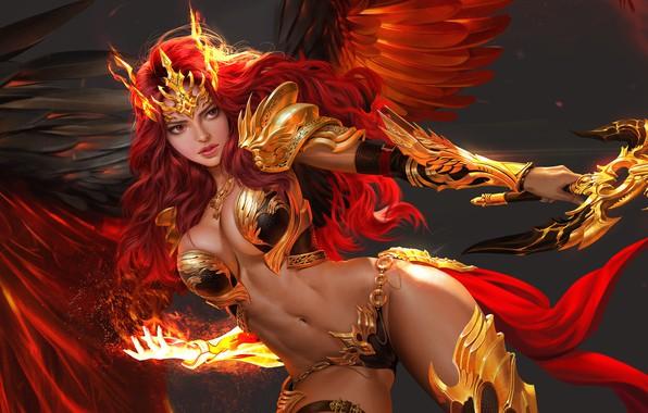 Picture erotic, look, girl, fire, wings, angel, art