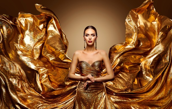 Picture look, girl, decoration, train, makeup, dress, gold