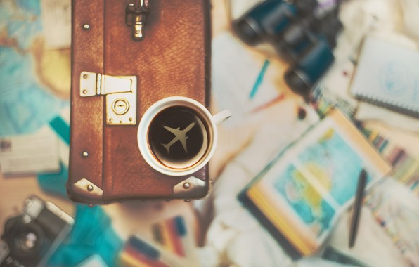 Picture Cup, suitcase, journey, cup, travel, suitcase, Dina Belenko