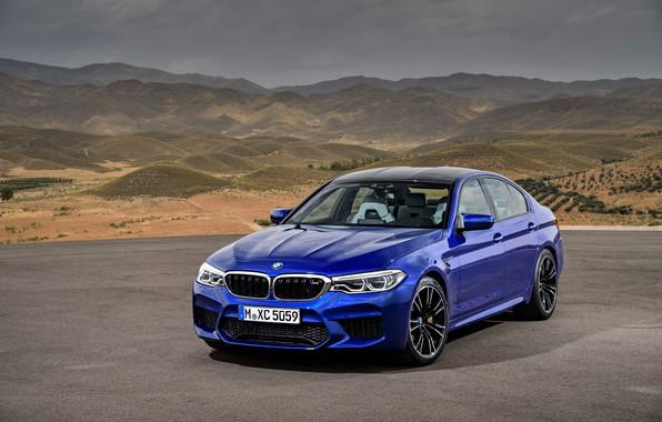 Picture blue, BMW, sedan, BMW M5, 2017, M5, F90