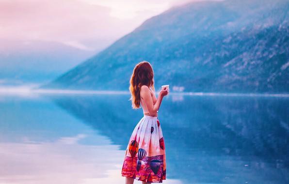 Picture girl, mountains, lake, mood, skirt, mug, Kristina Makeeva