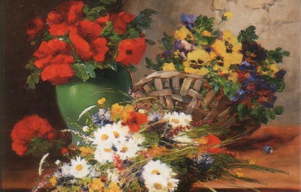 Picture flowers, basket, vase, CAUCHOIS