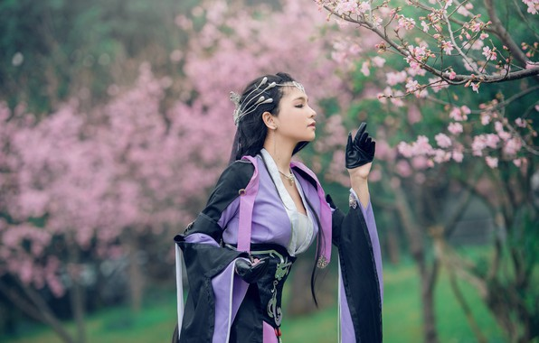 Picture greens, purple, look, girl, decoration, trees, flowers, branches, face, cherry, pose, style, background, lilac, sweetheart, ...