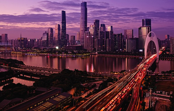 Picture city, lights, China, twilight, river, sky, cars, bridge, sunset, water, clouds, evening, buildings, architecture, skyscrapers, …