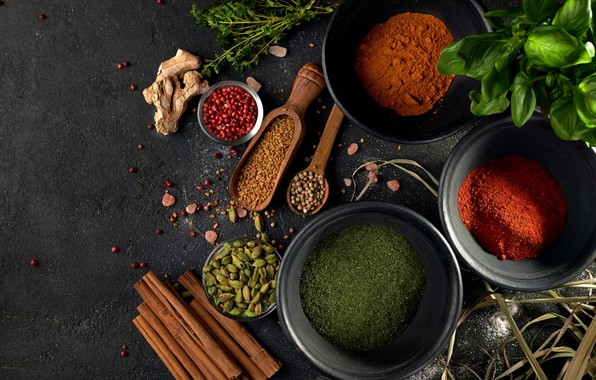Picture pepper, cinnamon, spices, ginger, cardamom, paprika, coriander, Basil, turmeric, thyme