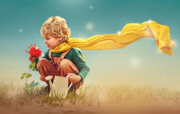 Picture flower, rose, boy, scarf, lake, child, photoart, Ксения Лысенкова, Маленький принц