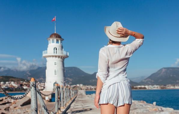 Picture sea, girl, pose, shorts, lighthouse, hat, Ruslan Kid