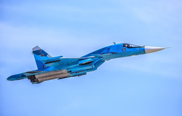 "Picture flight, duck, fighter-bomber, SU-34, supersonic, multifunction, Videoconferencing Russia, generation 4, the product ""T-10V"""