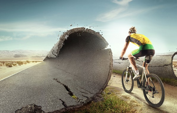 Picture road, asphalt, landscape, bike, desert, shorts, highway, t-shirt, gloves, helmet, athlete, cyclist, uniform, sneakers