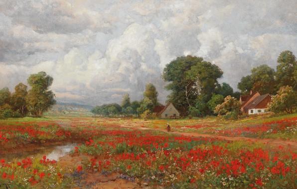 Picture Alois Arnegger, Field of poppies, Austrian painter, Austrian painter, oil on board, Alois Arnegger, Field …