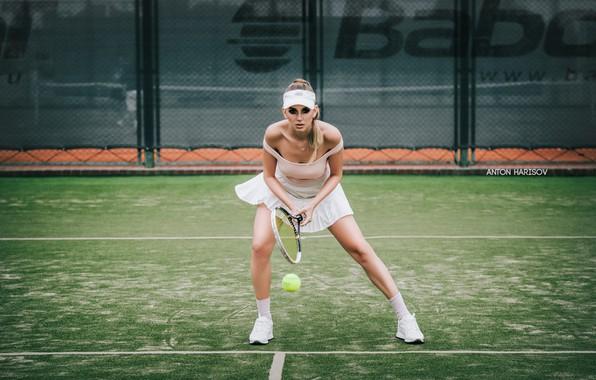 Picture girl, pose, racket, the ball, tennis, court, Anton Kharisov, Katrin Sarkozy
