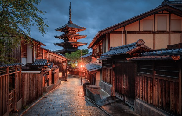 Picture night, clouds, street, Japan, track, lantern, Kyoto