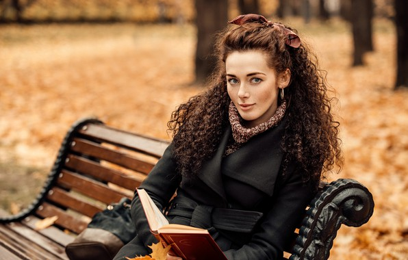 Picture autumn, look, leaves, trees, bench, pose, smile, Park, model, portrait, makeup, hairstyle, book, brown hair, …