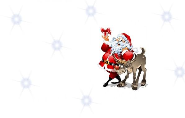 Picture mood, holiday, gift, minimalism, deer, art, Santa, children's